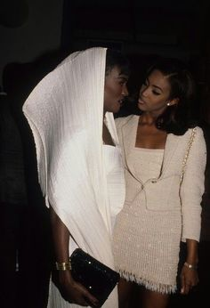 Grace Jones in Issey Miyake and Naomi Campbell in Azzedine Alaia