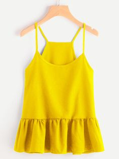 SheIn offers Drop Waist Frill Hem Cami Top & more to fit your fashionable needs. Urban Chic, Birkenstock Outfit, Cool Outfits, Fashion Outfits, Cami Tops, Ruffle Top, Spring Outfits, Drop Waist, Clothes