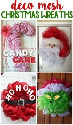 Fun deco mesh christmas wreath ideas to make! Fun deco mesh christmas wreath ideas to make! Christmas Wreaths To Make, Holiday Wreaths, Christmas Fun, Christmas Decorations, Christmas Ornaments, Winter Wreaths, Rustic Christmas, Summer Wreath, Christmas Crafts To Sell Make Money