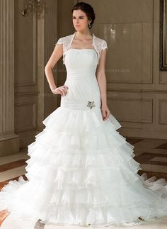 Wedding Dresses - $224.99 - A-Line/Princess Strapless Chapel Train Organza Wedding Dress With Beading Cascading Ruffles Pleated (002001308) http://jjshouse.com/A-Line-Princess-Strapless-Chapel-Train-Organza-Wedding-Dress-With-Beading-Cascading-Ruffles-Pleated-002001308-g1308?pos=your_recent_history_11
