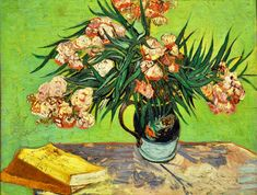 """Oleanders (1888).   Inscribed: (on cover of book) EMILE ZOLA / LA joie de / VIVRE; (on spine of book) Lajoie de / vivre / Emile / Zola.     For Van Gogh, oleanders were joyous, life-affirming flowers that bloomed """"inexhaustibly"""" and were always """"putting out strong new shoots."""" In this painting of August 1888 the flowers fill a majolica jug that the artist used for other still lifes made in Arles. They are symbolically juxtaposed with Émile Zola's La joie de vivre."""