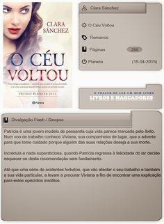 Livros e marcadores2: O Céu Voltou de Clara Sánchez