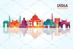 India skyline #Sponsored  #paid #illustration#File#Vector#India Ganesha, Graphic Illustration, Graphic Art, Graphic Design, Skyline Silhouette, Clay Crafts, Indian Art, Royalty Free Stock Photos, Drawings