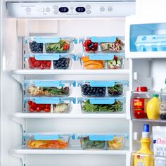 Organize your fridge using our glass food storage containers! #mealprep #foodstorage #diet #healthyeating