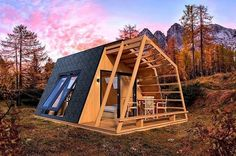 glamping unit mobile home model CGTrader Chalet Design, A Frame Cabin, A Frame House, Tiny House Cabin, Tiny House Design, Cabin Homes, Log Homes, Tiny Homes, Shed Plans
