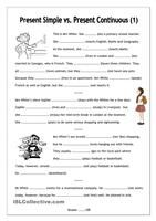 No-frills worksheet for all ages: Present Simple vs. Present Contin...