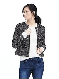 navy boucle zip blazer @bananarepublic