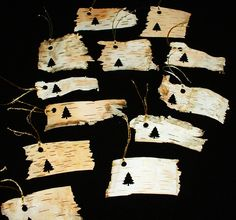 Items similar to Real Birch Bark Gift Tags Salvaged from Fallen Trees Pack of 12 on Etsy Tree Bark Crafts, Birch Bark Crafts, Wood Crafts, Diy Christmas Tree, Handmade Christmas, Christmas Decorations, Handmade Gift Tags, Handmade Crafts, Birch Bark Baskets