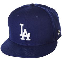 New Era Los Angeles Dodgers Snapback Cap ($38) ❤ liked on Polyvore featuring men's fashion, men's accessories, men's hats, dark royal, mens snapback hats and mens caps and hats