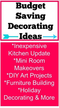 budget saving decorating ideas