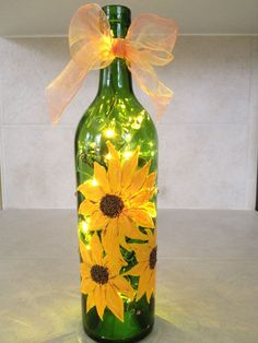 Sunflower, Lighted, Hand Painted Wine Bottle #paintedwineglasses