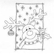 Merry Reindeer Rubber Stamp