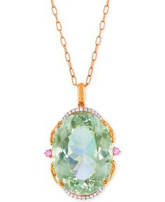 LALI Jewels Green Amethyst, Pink Sapphire (73-3/4 ct. t.w.) and Diamond (1/4 ct. t.w.) Pendant Necklace in 18k Rose Gold - Macy's  $12,500.00