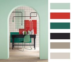 Mint green and red. Colour palette ❤ #colour #interior #collage #design