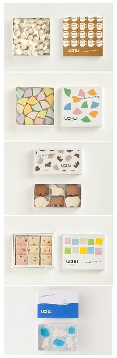 More UCHU wagashi yummy eats packaging Adriana PD Candy Packaging, Chocolate Packaging, Pretty Packaging, Packaging Inspiration, Plastic Business Cards, Japanese Packaging, Japanese Design, Box Design, Branding Design