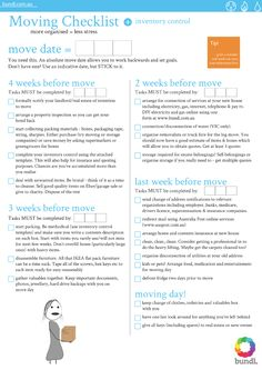 Moving House Checklist... maybe not this exact list, but I like the layout