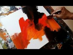 (8) Abstract painting / EASY abstract painting in Acrylics / Demonstration - YouTube