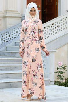 NEVA STYLE - Daily Dress - Florol Somon Color Hijab Dresses 3131SMN