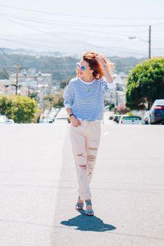 Blush Boyfriend Jeans and Stripe Sweatshirt