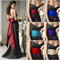 Strapless Evening Dress Prom Dress Long Black Taffeta Red Blue Pink Sash Mermaid Bridesmaid Dress