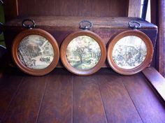 Antique Round Wooden Old World Prints (3) on Etsy, $15.00