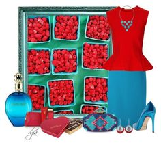 """Aqua & Red"" by dgia ❤ liked on Polyvore"