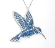 Fly High - Silver Hummingbird Necklace With Blue Pattern