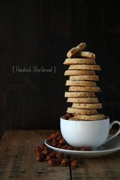 Hazelnut Shortbread Cookies, perfect with tea or coffee, or dipped in chocolate