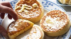 Crumpets with whipped leatherwood honey butter recipe : SBS Food Crepes, English Crumpets, Tea And Crumpets, Scones, Homemade Crumpets, Crumpet Recipe, Biscuits, Sbs Food, Honey Butter