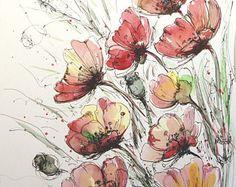 Amapolas elegante Original pintura floral acuarela y tinta flores pintura Original arte amapolas 11 x 14 en el arte