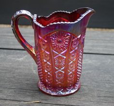 Vintage Sunset Carnival Glass Pitcher