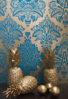Gold and Blue Wall paper