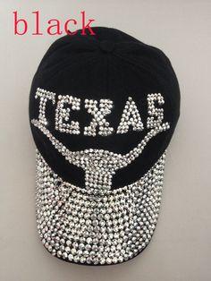 74825ce42be Fashionable Women s Rhinestone Black Baseball Cap Texas Cheap Baseball Caps