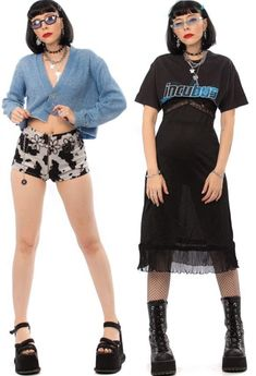 Edgy Outfits, Cool Outfits, Fashion Outfits, 2000s Fashion, Girl Fashion, 90s Teen Fashion, Fashion Catalogue, Alternative Outfits, Aesthetic Clothes