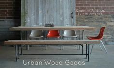 Industrial modern dining tableBenches by UrbanWoodGoods on Etsy, $2195.00
