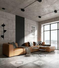 O toque de cor desta sala de estilo industrial era o sofá de caramelo - Arquitetura e Design de Interiores - Loft Interior Design, Industrial Interior Design, Loft Design, Home Interior, Interior Design Living Room, Living Room Designs, Living Room Decor, House Design, Interior Architecture