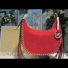 "NWT Red MK Rhea Grommet Bag 11.25 X 6.25 X 2.5 Red and Gold suede adjustable shoulder strap to 24"" hardware is Gold Michael Kors Bags Crossbody Bags"