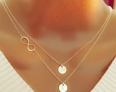 Layered infinity and Initials Necklace all 925 by potionumber9