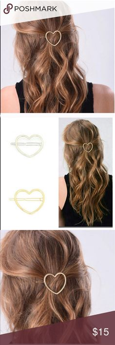 """GOLD HEART BARRETTE HAIR ACCESSORY 💗condition: new in package. Color: Gold.  Size is approximately 2"""". Includes dust bag to save it.  💗Smoke free home/Pet hair free 💗No trades, No returns. No modeling  💗 If you want to resell the item, yes, you are allowed to use my photos. 💗Shipping next day. Beautiful package! 💗ALL ITEMS ARE OWNED BY ME. NOT FROM THRIFT STORES 💗All transactions video recorded to ensure quality.  💗Ask all questions before buying kikisflorida Accessories Hair…"""