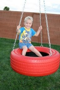 DIY tire swing for underneath the playhouse.I like the idea of a swing under a play house.obviously because we have no trees for a swing :( Backyard For Kids, Backyard Projects, Outdoor Projects, Diy Tire Swing, Tire Swings, Diy Playground, Ideas Terraza, Old Tires, Outdoor Fun