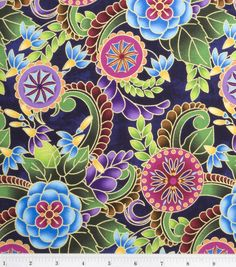 Legacy Studio Cotton Fabric-Polynesia Master Medallion Floral Blue at Joann.com