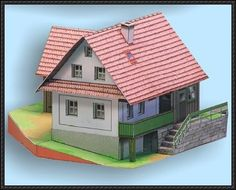 Two Czech Houses Free Building Paper Model Download