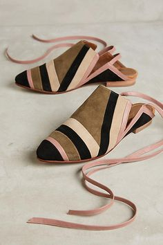 Luiza Perea Suede Ankle-Wrap Mules - anthropologie.com