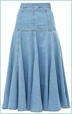 MSGM High Rise Fluted A Line Midi Skirt - Womens - Light Denim skirt courte cuir en jean longue fashion indian outfits outfits summer style Light Denim, Denim Fashion, Fashion Outfits, Mode Jeans, Skirt Outfits, Denim Outfits, Ladies Dress Design, Midi Skirt, Women Wear