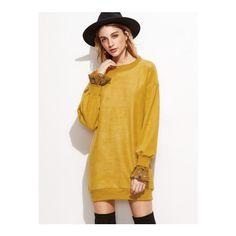 SheIn(sheinside) Yellow Drop Shoulder Contrast Cuff Sweatshirt Dress ($22) ❤ liked on Polyvore featuring dresses, yellow, brown long sleeve dress, short dresses, yellow long sleeve dress, long-sleeve shift dresses and long sleeve short dress