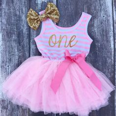 Pink first birthday dress pink first birthday by NylaMarieKids