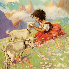 Jessie Willcox Smith, Heidi;  One of my favorite stories.  I would make my sister watch this movie over and over again at our grandparents' house.