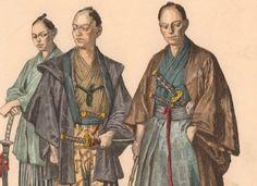 Gravure-Couleur-Costume-Japon-Japan-Kimono-Samourai