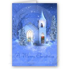 Snow , Church , Christmas Greeting Card from Zazzle.com