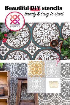 Wall Stencil Designs, Stencil Decor, Stencils, Refurbished Headboard, Brick Crafts, Mosaic Tile Stickers, Landscape Bricks, Stenciled Floor, Paint Colors For Home